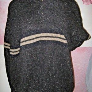 Gray Fleck Tan Chest Stripe Crew Wool Sweater XL